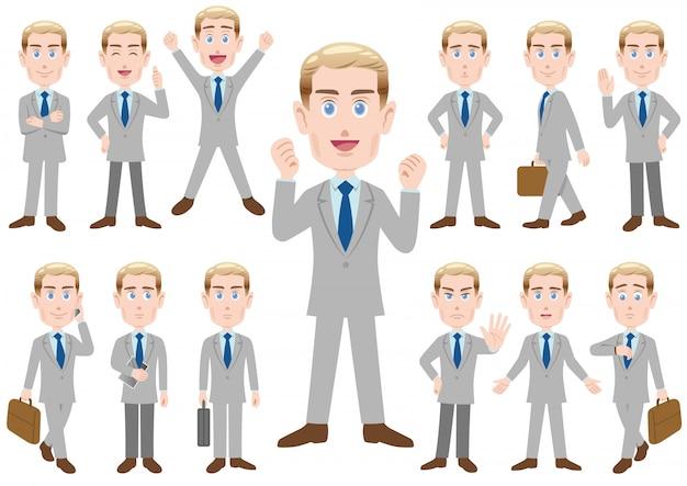 Homme d'affaires dans des poses différentes Vecteur Premium