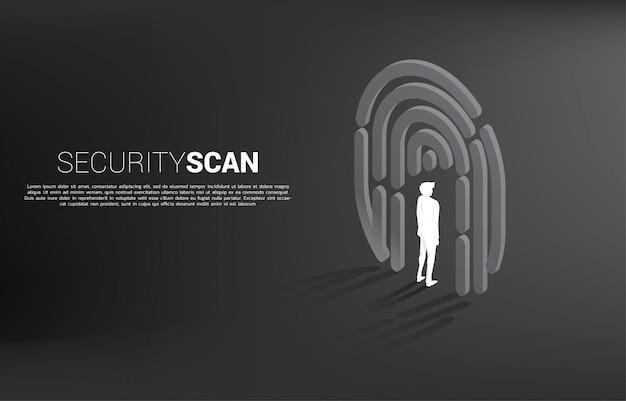 Homme d'affaires debout dans le symbole de scan de doigt. concept de base pour la technologie de sécurité et de confidentialité pour les données d'identité Vecteur Premium