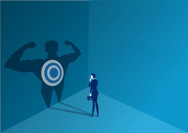 Homme affaires, debout, décider, fort, pouvoir, vecteur, illustrateur, concept but Vecteur Premium