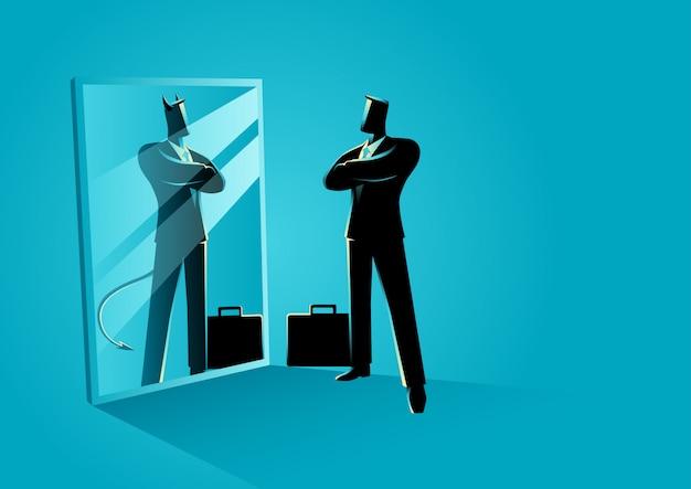 Homme affaires, debout, devant, a, miroir Vecteur Premium