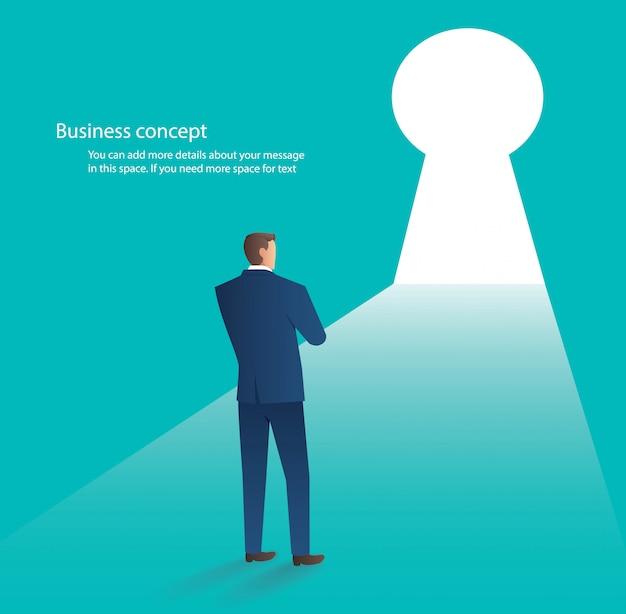 Homme affaires, debout, devant, porte trou clé Vecteur Premium