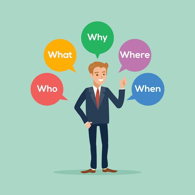 Homme d'affaires debout avec diverses questions Vecteur Premium