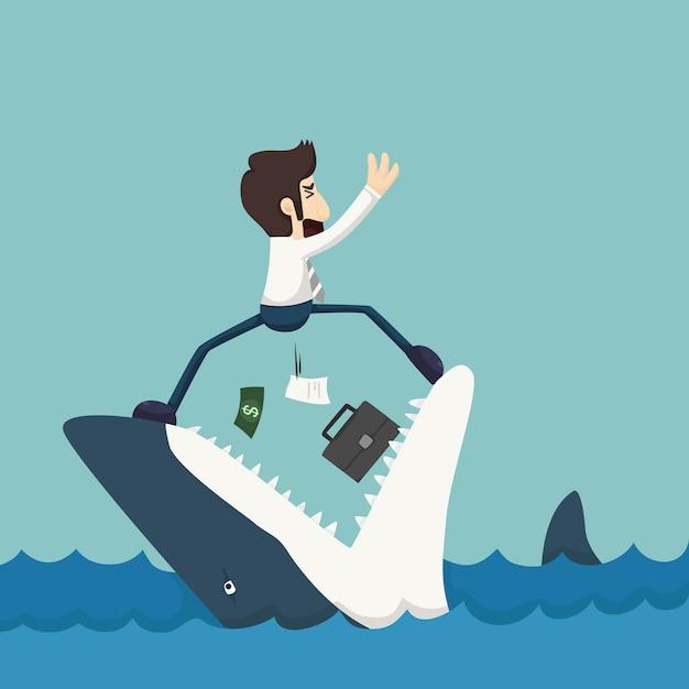 Homme d'affaires debout sur les mâchoires de requin Vecteur Premium