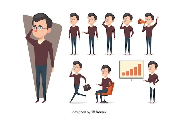 Homme d'affaires dessiné main belle faisant différentes actions Vecteur gratuit