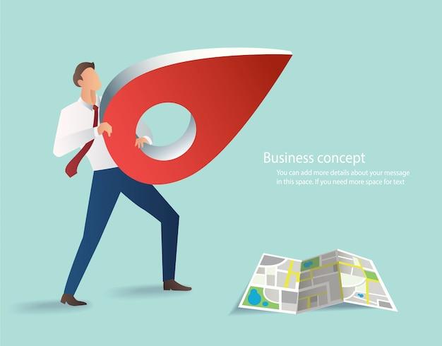 Homme d'affaires détenant l'icône de broche rouge Vecteur Premium