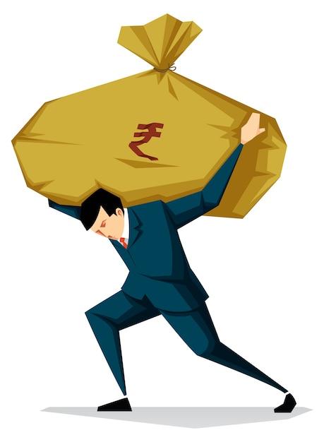Homme d'affaires détenant illustration de sac d'argent, coût élevé, concept d'inflation Vecteur Premium