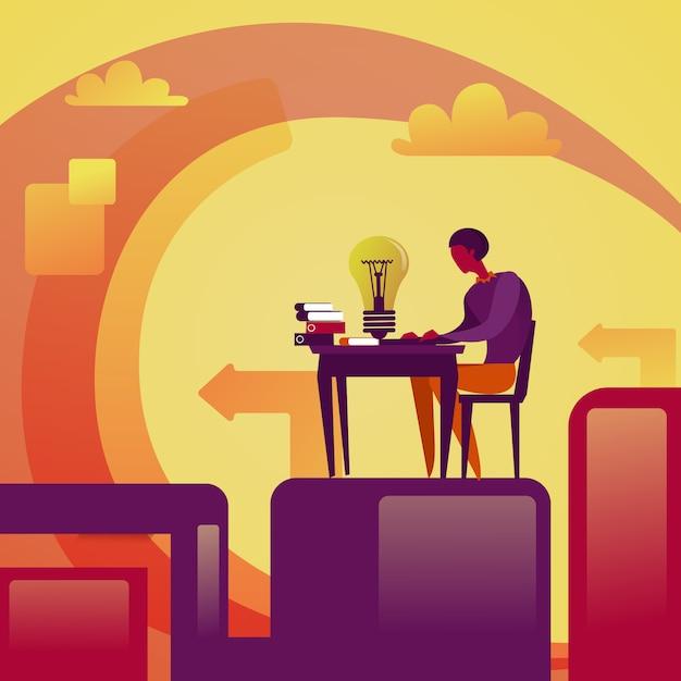 Homme d'affaires développement nouvelle idée concept homme d'affaires assis à la table avec une ampoule de remue-méninges Vecteur Premium