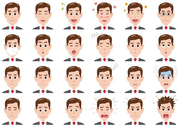 Homme d'affaires diverses expressions définies. caractères de vecteur isolés Vecteur Premium