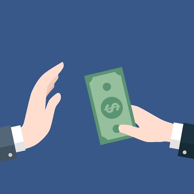 Homme d'affaires donnant de l'argent, pas de corruption Vecteur Premium