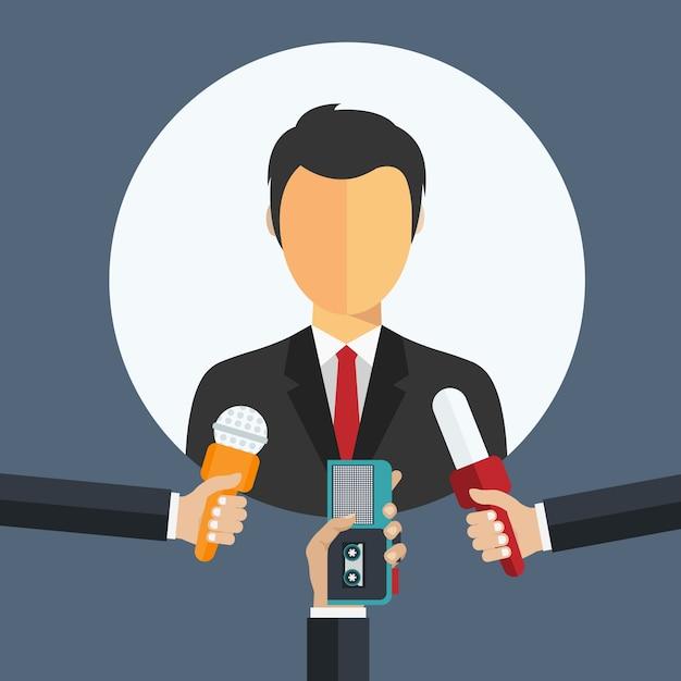 Homme d'affaires donnant une entrevue Vecteur gratuit