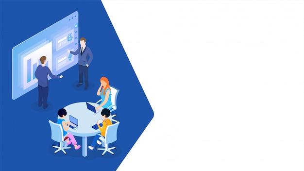 Homme d'affaires donnant une présentation lors d'une réunion de conférence pour le concept de travail d'équipe. Vecteur Premium