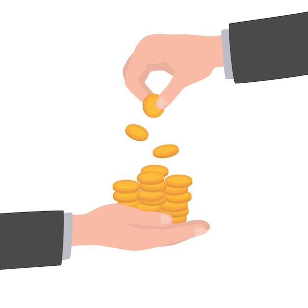 Homme d'affaires donne à l'homme une pièce d'or. recevoir de l'argent. transfert d'argent de main en main. donner une pièce. concept de don financier. Vecteur Premium