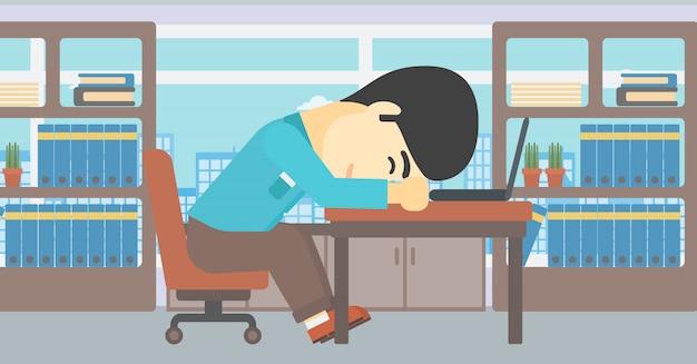 Homme d'affaires dormant sur le lieu de travail. Vecteur Premium