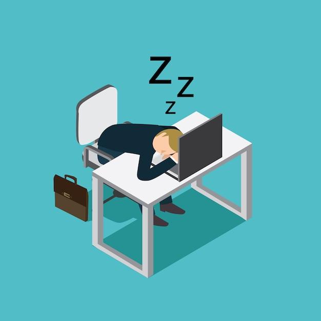 Homme d'affaires dormant Vecteur Premium