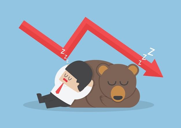 Homme d'affaires, dormir avec l'ours avec le graphique de tendance vers le bas Vecteur Premium