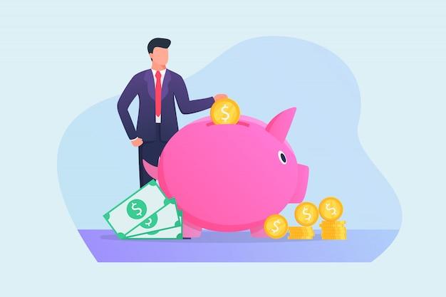 Homme D'affaires, économiser De L'argent Dans Le Concept De Tirelire Avec Vecteur Premium