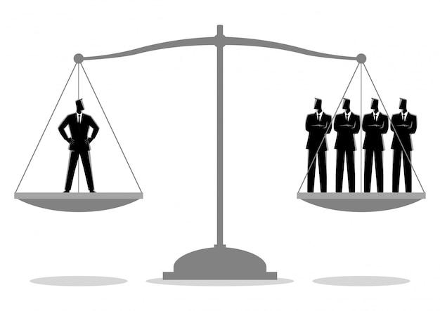 Homme d'affaires égal à quatre hommes d'affaires Vecteur Premium