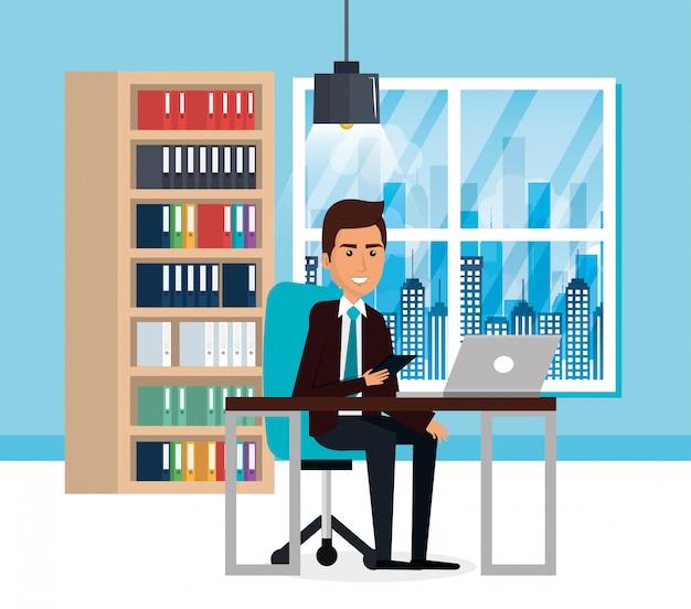 Homme d'affaires élégant dans la scène de bureau Vecteur gratuit