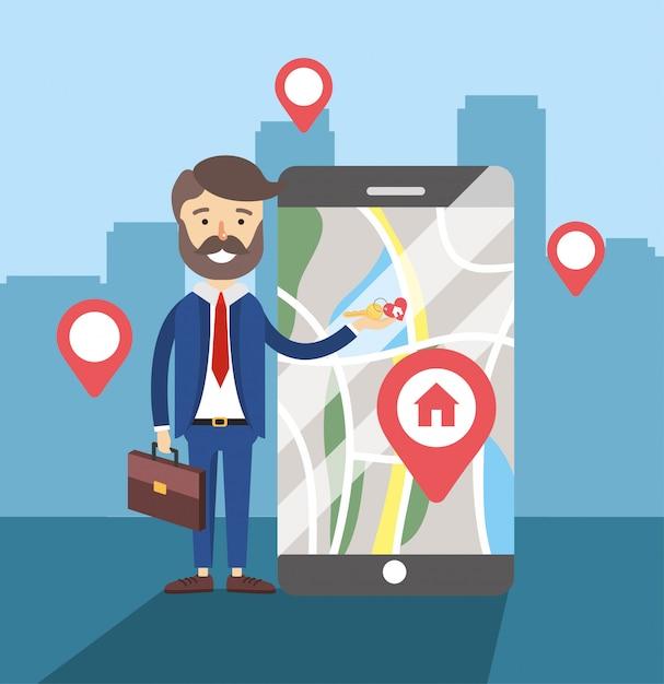 Homme d'affaires avec l'emplacement de la carte de vente maison smartphone Vecteur Premium