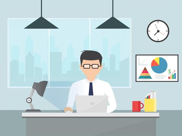Homme d'affaires ou un employé travaillant à son bureau. illustration vectorielle plane Vecteur Premium