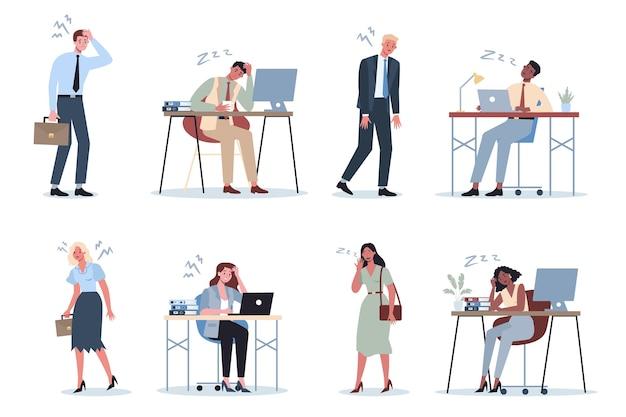 Homme D'affaires épuisé Et Femme Dans L'ensemble De Bureau. Vecteur Premium