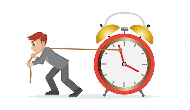 Homme D'affaires Essayant De Ralentir Et D'arrêter Le Temps. Vecteur Premium