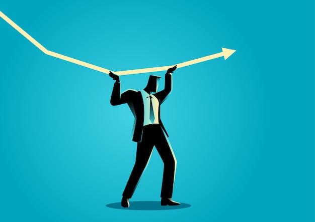 Homme d'affaires essayant de tenir la charte graphique décroissante Vecteur Premium