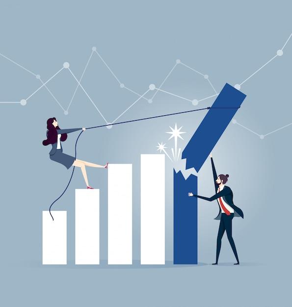 Homme d'affaires essayant de tenir la rupture et la chute de la barre graphique du taux de croissance Vecteur Premium