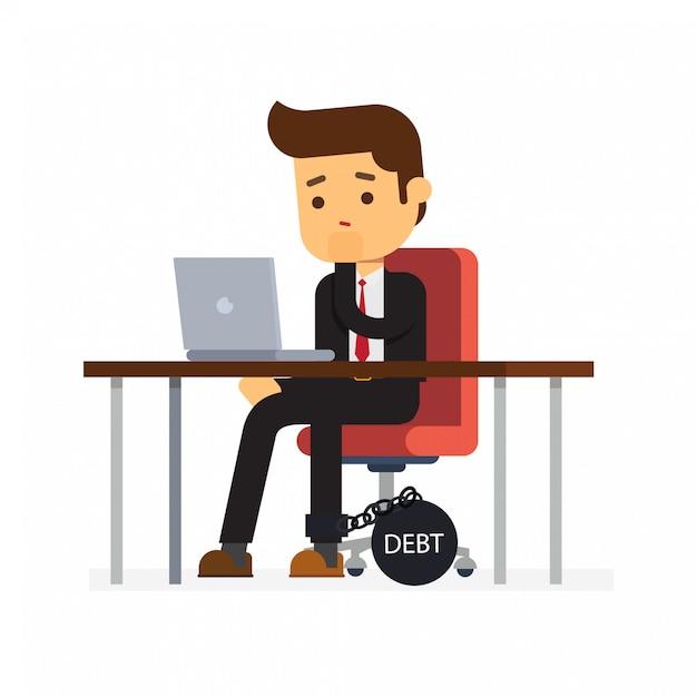 Homme D'affaires Est Assis Sur Une Chaise De Bureau Et Une Lourde Dette Vecteur Premium