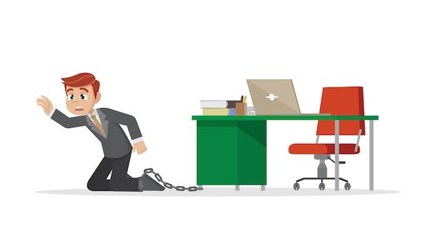 Homme d'affaires étant enchaîné à un bureau. Vecteur Premium