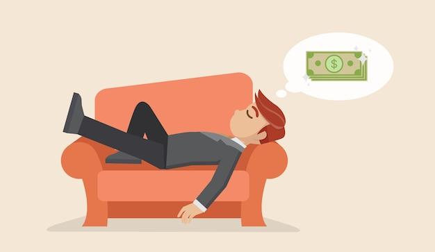Homme affaires, faire la sieste sur le canapé, rêver de l'argent Vecteur Premium