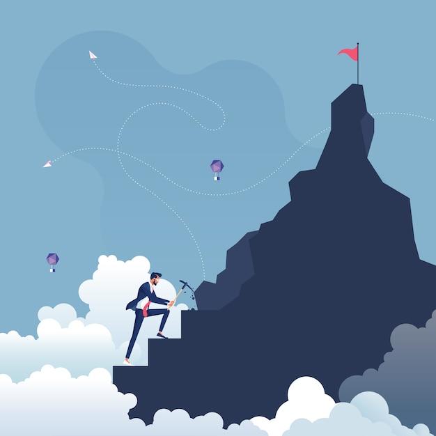 Homme D'affaires Faisant Des Pas Vers L'objectif Au Sommet De La Montagne-faire Un Effort Concept Vecteur Premium