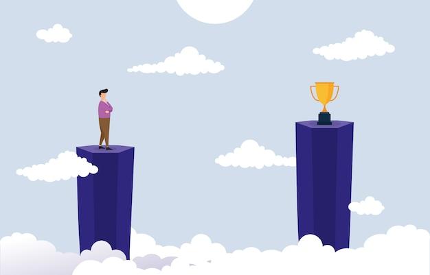 Homme d'affaires sur la falaise pensant comment atteindre la cible avec le concept d'entreprise obstacle Vecteur Premium