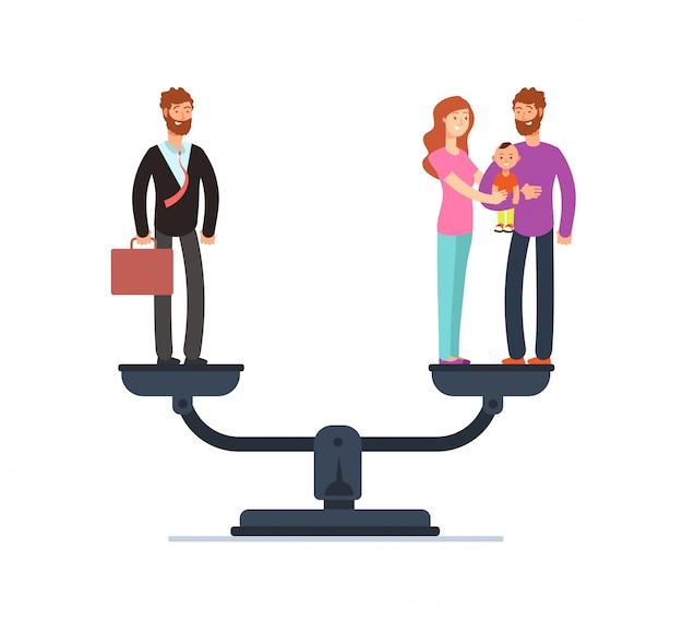 Homme d'affaires et famille heureuse avec des enfants sur des échelles. Vecteur Premium
