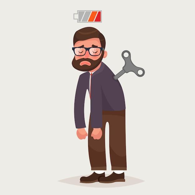 Homme D'affaires Fatigué Avec Clé Mécanique Et Batterie Vide Vecteur Premium
