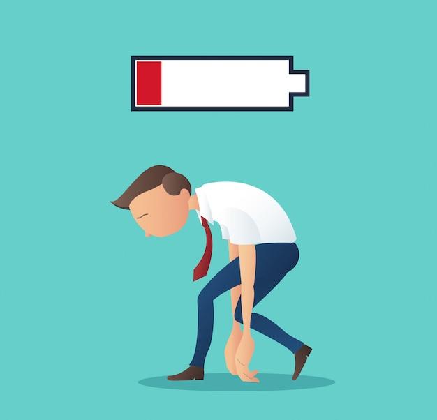 Homme D'affaires Fatigué De Travailler Avec Une Batterie Faible Vecteur Premium