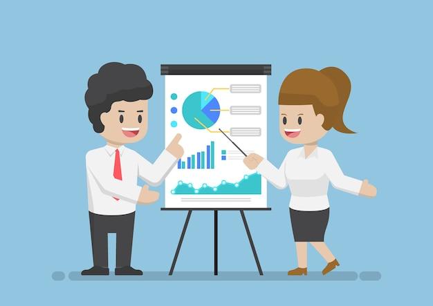 Homme D'affaires Et Femme D'affaires Analysant Ensemble Le Graphique D'entreprise, Analysant Les Données D'entreprise Et Le Concept De Travail D'équipe Vecteur Premium