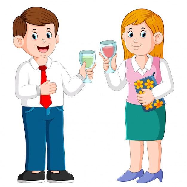 Homme d'affaires et femme d'affaires avec des boissons Vecteur Premium