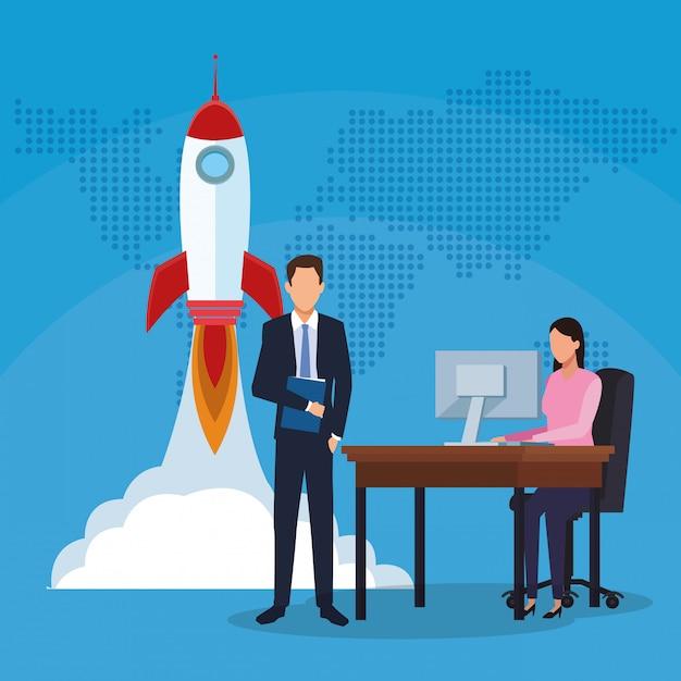 Homme Affaires, Femme Affaires, Fonctionnement, Informatique, Fusée Vecteur Premium