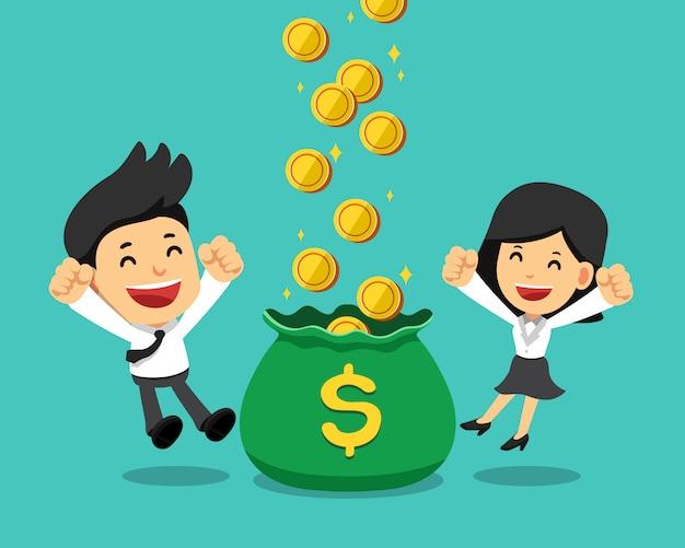 Homme D'affaires Et Femme D'affaires Gagner De L'argent Ensemble Vecteur Premium