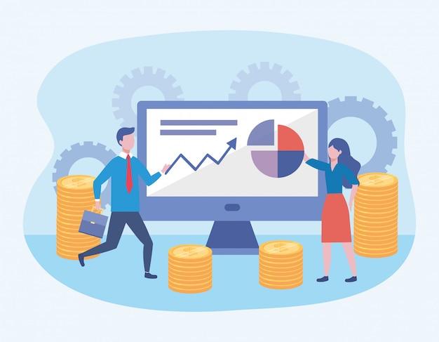 Homme d'affaires et femme d'affaires avec des informations sur l'ordinateur et le diagramme Vecteur gratuit