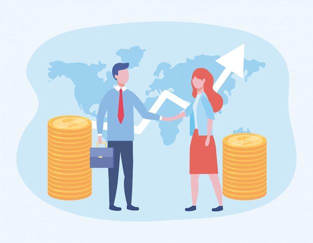 Homme d'affaires et femme d'affaires avec pièces de monnaie et flèche avec valise Vecteur gratuit