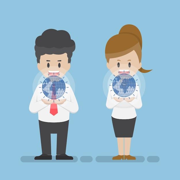 Homme D'affaires Et Femme D'affaires Tenant Le Monde Virtuel Sur Leurs Mains. Concept De Technologie D'entreprise Vecteur Premium