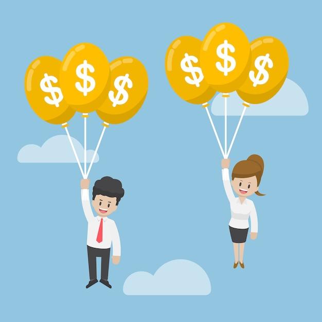 Homme Affaires, Et, Femme Affaires, Voler, à, Dollar, Ballon Vecteur Premium