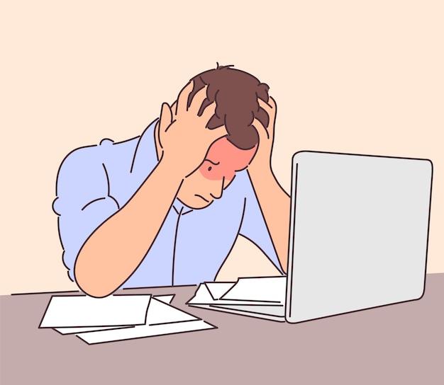 Homme D'affaires Frustré Travaillant Au Bureau Dessiné à La Main Vecteur Premium