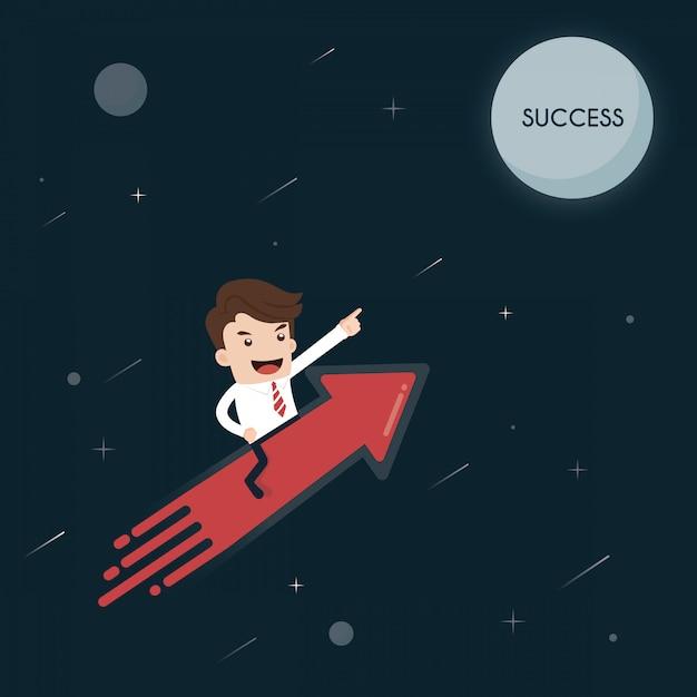 Homme d'affaires sur une fusée aller au succès de la lune. Vecteur Premium