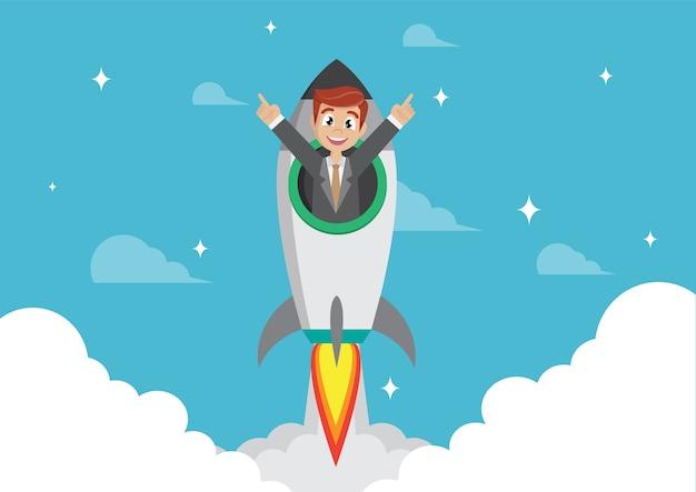 Homme affaires, fusée Vecteur Premium