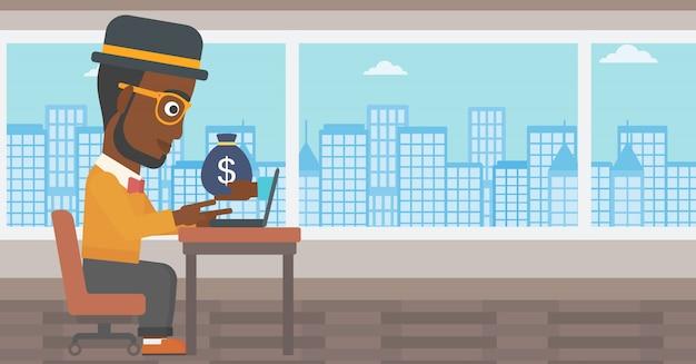 Homme d'affaires, gagner de l'argent d'une entreprise en ligne. Vecteur Premium