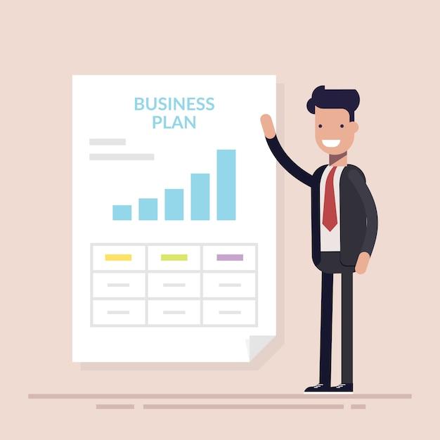 Homme D'affaires Ou Gestionnaire Faisant La Présentation Du Plan D'affaires. Vecteur Premium