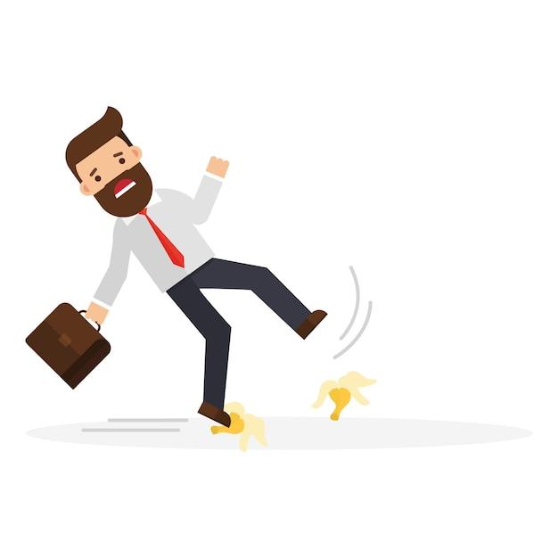 Homme d'affaires glissant sur une peau de banane Vecteur Premium